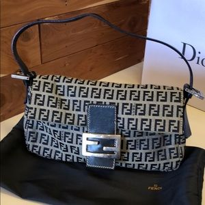 Authentic Fendi navy baguette